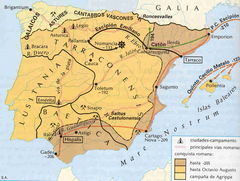 Progresión de la Conquista romana en Hispania